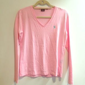 Ralph Lauren sport pink long sleeve shirt
